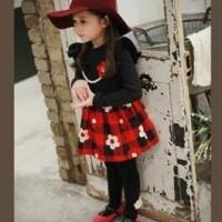 Baju Anak - Flower Plaid Dress (GI-597)