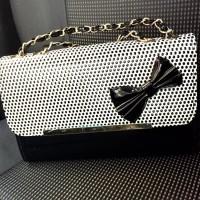 tas rantai selempang kecil polkadot hitam putih bow pita wanita elegan