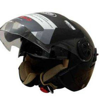 Snail Helm Half Face Retro 622 Double Visor Mika Helm - Hitam Clear