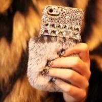 Case luxury rabbit hair D-001 for iphone 6 & 6 plus
