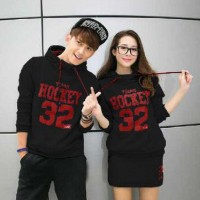 Setelan Jumper Couple Hockey SS Hitam