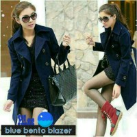 Dark Blue blazer coat jas korea musim dingin