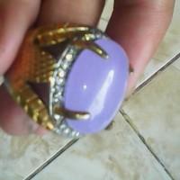 cincin batu lavender biru langit natural berserat tembus halus