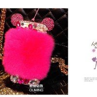 Casing luxury diamond rabbit hair for iphone 4 &iphone 5