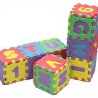 Jual Karpet Puzzle Evamat ABJAD A-Z dan ANGKA ukuran kecil 8x8cm Murah