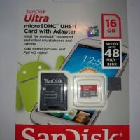 harga SanDisk Ultra microSDHC Card Class 10 (48MB/s) 16GB w/ SD Card Adapter Tokopedia.com