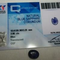 batu permata blue safir / sapphire + memo / sertifikat / certifikat