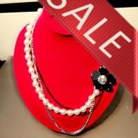 Fashion Necklace (kalung) Black Flower and diamond design