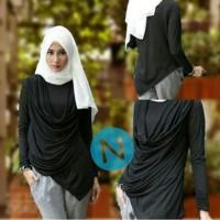 Blouse juntai hijab spandek 46198-sahara (hitam) L besar