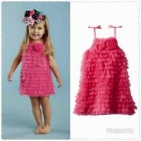 Mud Pie Hot Pink Chiffon Ruffle Dress