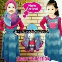 Gamis Overall Jeans Washed + Jilbab Hello Kitty