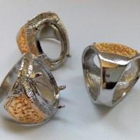 Cangkang Batu Cincin / Ring Batu Cincin / Rodium Motif Titanium 8