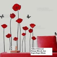 Set Stiker Dekorasi Dinding Motif Bunga Merah dan Kupu-Kupu Hitam