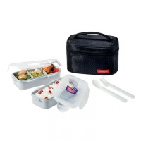 Lock&Lock Lunch Box set with Spon&Fork HPL752DB - Hitam