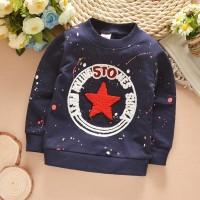 kaos panjang atasan anak sweater bintang biru navy