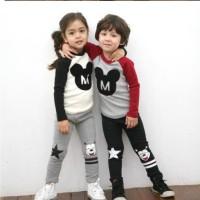 baju setelan panjang anak HZ House Mickey set