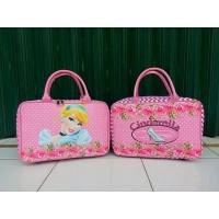 Travel Bag Kanvas Karakter Kartun Cinderella Salur Pink (Free Ongkir)