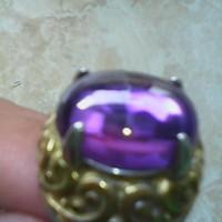 cincin batu natural kristal ungu jernih tembus proses halus titanium