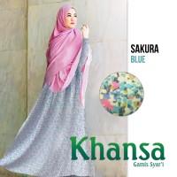 Khansa Sakura Blue Gamis Syar'i