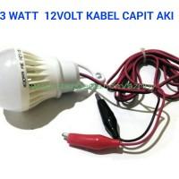 12V / 3W + KABEL CAPIT AKI LAMPU BOHLAM LED SOLAR CELL PANEL SURYA