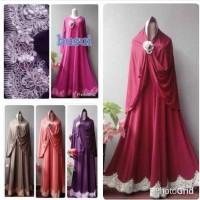 harga Gamis 4 Renda Jersey Super Jilbab Hijab Mukena Bata Muda, Fanta Maron Tokopedia.com