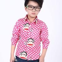 Kemeja Anak/cool Korean Style Paul Frank Polka Shirt - Pink (b438)
