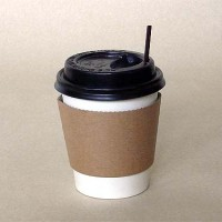 Paper Cup 8 oz - Hot Cup + Tutup Hitam + Stirrer + Sleeve