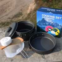 D-200 NESTING COOKING SET / ALAT MASAK CAMPING ISI 2 SET OUTDOOR