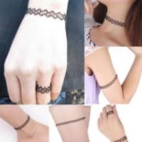 kalung choker tatto double strands murah 1 set