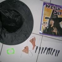 halloween witch hat/ topi penyihir, kuku, dagu, hidung nenek sihir/set