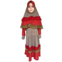 Baju Gamis Muslim Anak Perempuan Syari Syar'i Polkadot DR Orange