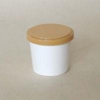 Paper Cup Ice Cream/Es Krim 4 oz + Tutup Coklat + Sendok Putih