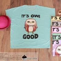 Kaos t-shirt blouse Batwing Big Size XXL cupcake good Owl burung hantu