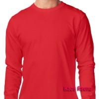M tshirt kaos polos model O Neck Unisex lengan panjang Merah murah