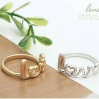Cincin korea simpel kata/huruf LOVE(LOVE word ring) warna emas&silver