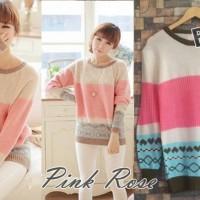 PINK ROSE - BAJU RAJUT KOREA
