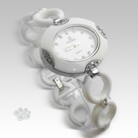Chanel Fiber Link Oval (White Silver)