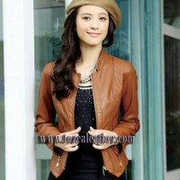 Jual jaket semi kulit wanita style korea Murah