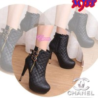 MJ88 SEPATU HIGH HEELS HITAM BOOT PESTA WANITA KULIT POLOS SIMPLE MALL