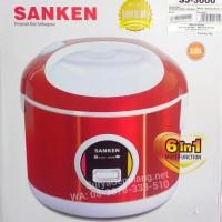 Rice Cooker Sanken SJ3000 Merah Stainless Asli, Baru, Garansi Resmi