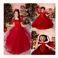 Baju Anak Dress Princess dan Coat Frozen Merah