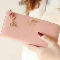 Dompet fashion cewek/wanita import korea Zipper wallet Soft Pink