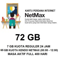 Kartu Paket Perdana Internet 3 Three Tri NETMAX Kuota 72Gb 72 Gb Murah