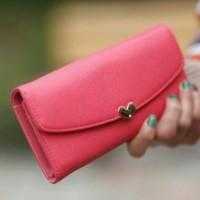 Dompet Wanita Cewek Import Korea - Lovely Wallet HOT PINK