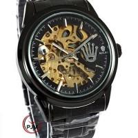 Jual Rolex Skeleton Rantai Full Black Logo Samping (Automatic) Murah