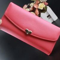 Dompet fashion cewek wanita import korea Love wallet hot pink