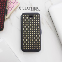 Casing HP Unik X Leather Flip Case Black Gold Iphone 4/4s/5/5s/6