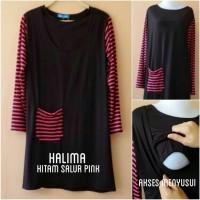 Baju Hamil & Menyusui (Halima hitam salur pink)
