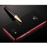 Xiaomi Redmi 2 Casing Aluminium Tempered Glass Hard Case- Black/Red