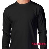 XL tshirt kaos polos model O Neck Unisex lengan panjang Hitam murah